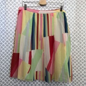 Tommy Hilfiger 100% silk pleated color block skirt